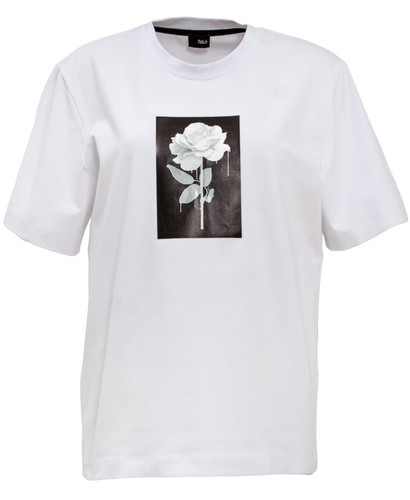White  Regular Fit T-Shirt With Print | Rose