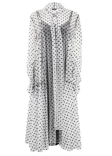 White Flared Polka Dot Tulle Midi Dress   Felicity