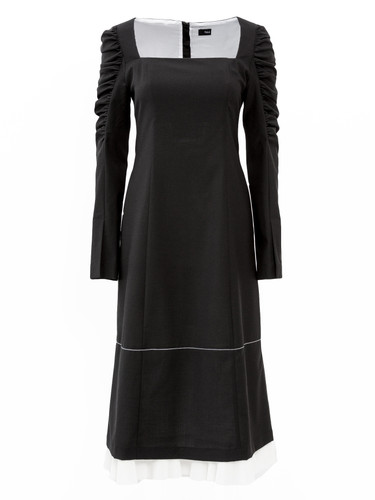 Square-Neck Draped Long-Sleeve Midi Dress | Rosemary