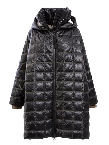 Black Puffer Oversized Coat With Hood | Loraine