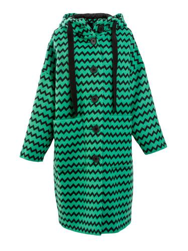 Green Zig-Zag  Oversized Coat With Hood | Cleo