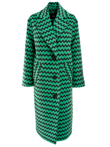 Green Zig-Zag Classic Straight Cut Coat  | Nieves