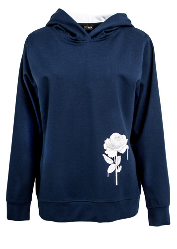 Navy Blue Pullover With Rose Embroidery   Rosalie