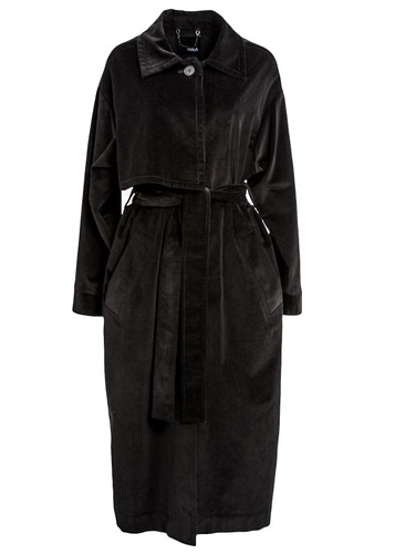 Black Cotton Blend Corduroy Coat | Tia
