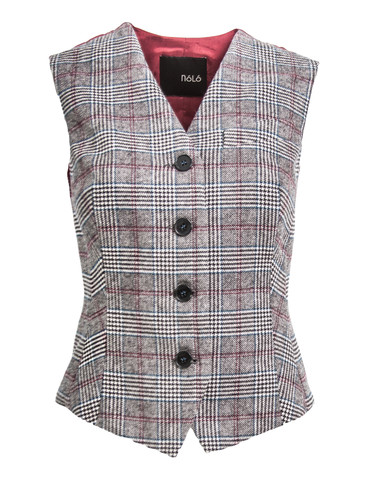 Tailored Cropped Gilet In Plaid Pattern | Keira