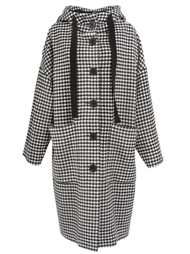 Houndstooth Pattern Oversized Coat With Hood | Cleo