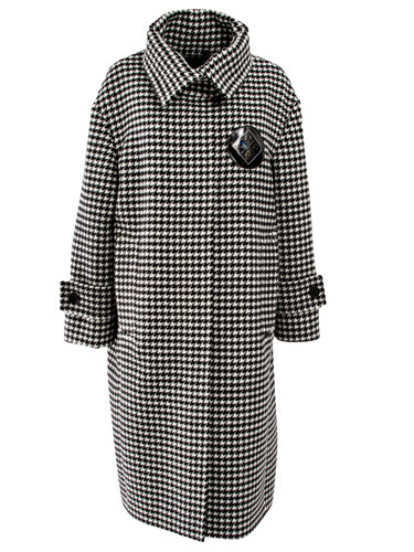 Houndstooth Pattern Relaxed Fit Coat | Deborah