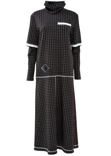 Midi Lenght Plaid Punto-Roma Jersey Dress | Monica