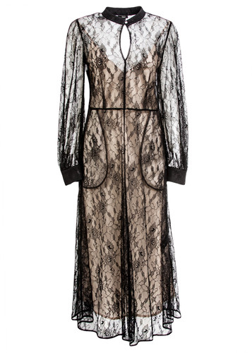 Black Lace Midi Dress With Contrasting Underdress | Fernanda