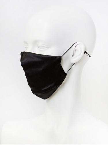 Luxury Silk 4 Layer Adjustable Face Mask | Black Silk