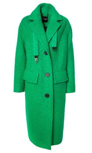 Bright Green Dropped Shoulders Straight Cut Coat   | Nieves