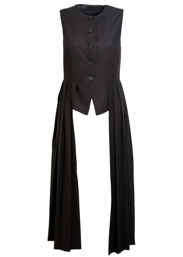 Black Tailored Classic Vest With Extended Pleated Peplum   Thyra
