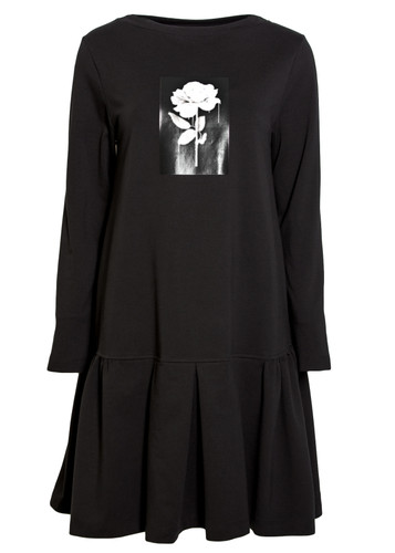 Black Knee Length Sweat  Dress With Ruffled Skirt And Print | Rois