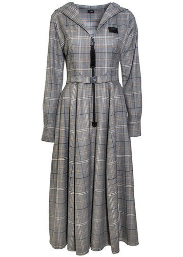 Greay Plaid Pattern Hooded Dress | Magdalene