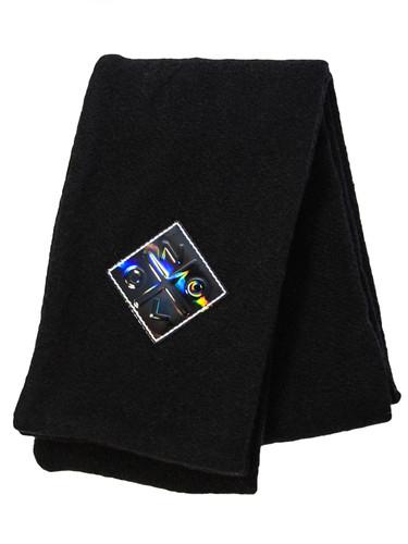 Black Long  Double Knit Wool-Mix Scarf | Telma