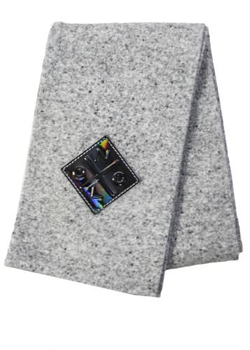 Light Grey Long  Double Knit Wool-Mix Scarf   Telma
