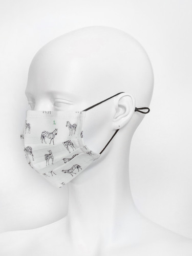 Adjustable Ivory Reusable Face Mask With Nose Wire | Zebra