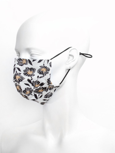 Adjustable Beige  Reusable Face Mask With Nose Wire |Flowers