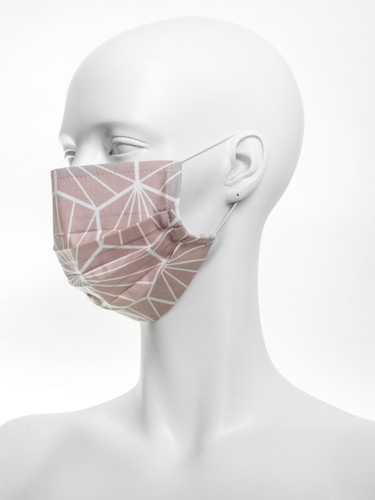 Geometric Three layer Reusable Face Mask |Nude