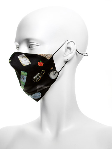 Luxury Silk 4 Layer Adjustable  Face Mask |Black Objects
