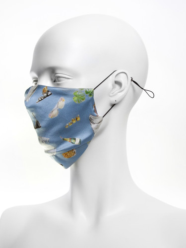 Luxury Silk 4 Layer Adjustable  Face Mask |Powder Blue Objects