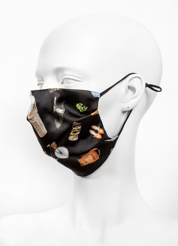 Adjustable Luxury Silk 2 Layer Reusable Face Mask With Nose Wire |Black Objects