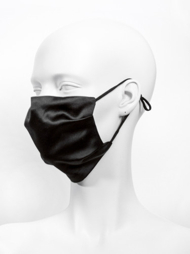 Adjustable Luxury Silk 2 Layer Reusable Face Mask With Nose Wire |Plain Black