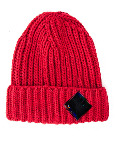 Logo Patch Ribbed Wool Beanie With Fold-Over Cuff  | Helma Red