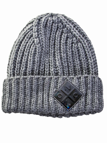 Logo Patch Ribbed Wool Beanie With Fold-Over Cuff  | Helma Gray