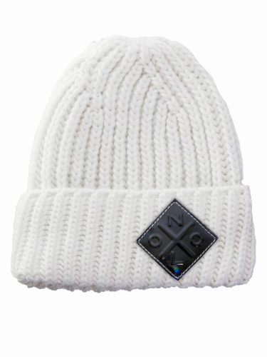 Logo Patch Ribbed Wool Beanie With Fold-Over Cuff  | Helma Ivory