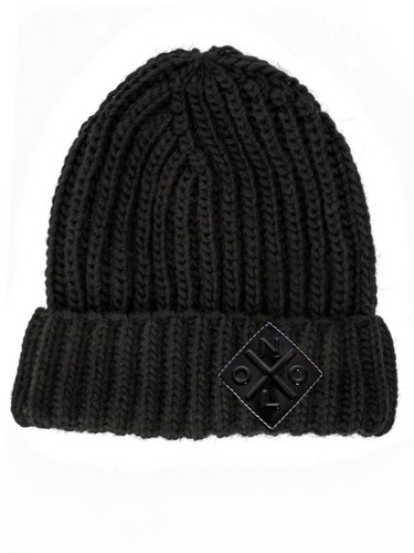 Logo Patch Ribbed Wool Beanie With Fold-Over Cuff  | Helma Black
