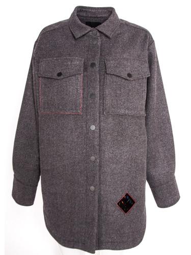 Long Sleeve Oversized Wool Blend Shirt   Nagiri