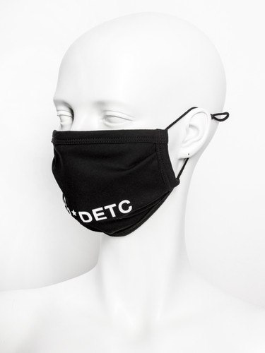 Black Cotton Jersey Two Layer Print Face Mask | P12