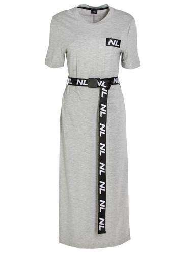 Gray Midi Length Single Jersey Dress With Logo Belt   Claire
