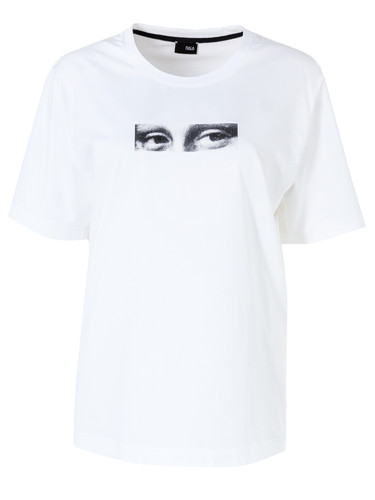 White Regular Fit T-Shirt With Patent Print | Mona