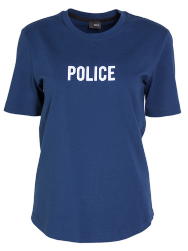 Dark Blue Regular Fit T-Shirt With Flock Print | Police