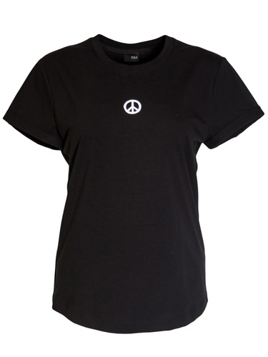 Black  Regular Fit T-Shirt With  Print | Peace