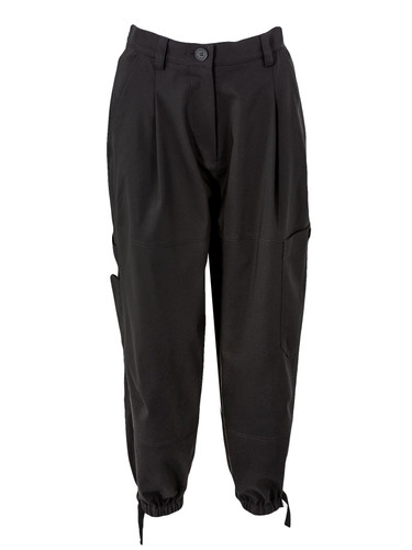 Black Pegged Cotton Cropped Trousers With Straps | Adeline