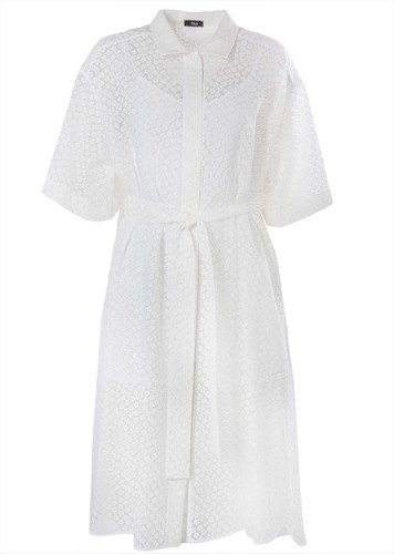 White Shirtdress  With Floral Burnout | Faith