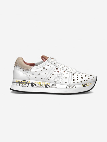 Premiata White Leather Perforated Sneakers | Conny