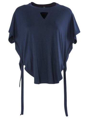 Navy Jersey Viscose Top With Draped Detail | Antibes