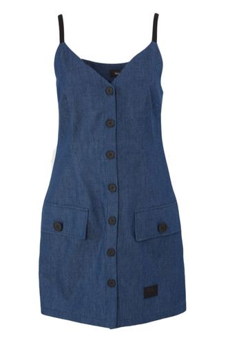 Blue Denim Mini Strap Shirtdress | Plage