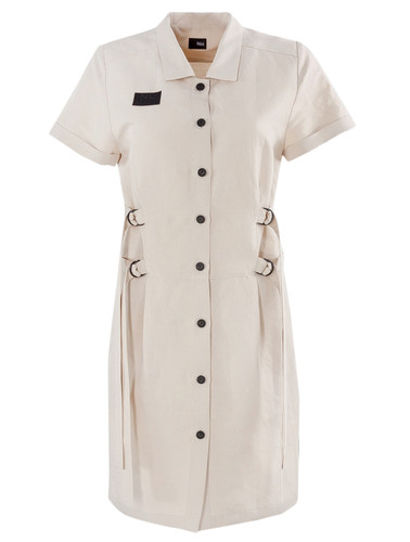 Linen Knee Length Shirtdress With Straps | Vilma