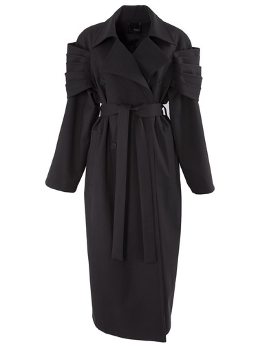 Black Oversized Cotton Trench Coat With Armored  Folded Sleeve Detail | Erica