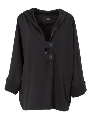 Black Oversized Fit Sweat Hoodie With Deep V-Neck | Noemi