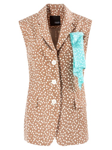 Beige Polka Dot Viscose  Sleeveless Blazer | Katherine