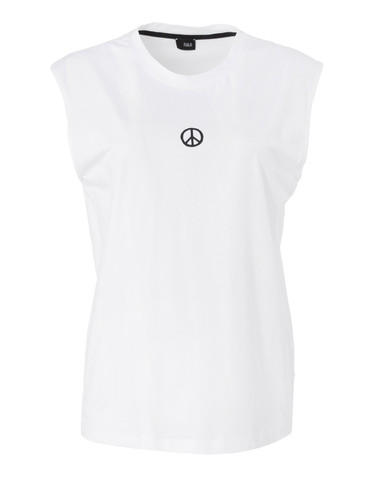 White Regular Fit  Tank Top With  Print | Peace