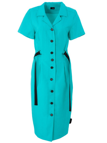Turquoise Midi Shirtdress With Straps | Veneranda