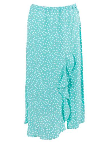 Tiffany Polka Dot Viscose  Midi Length Skirt With Front Slit | Sety