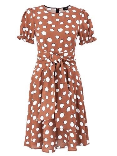 Brown Polka Dot Viscose Sun-Cut Dress With Puff Sleeves   Nessie